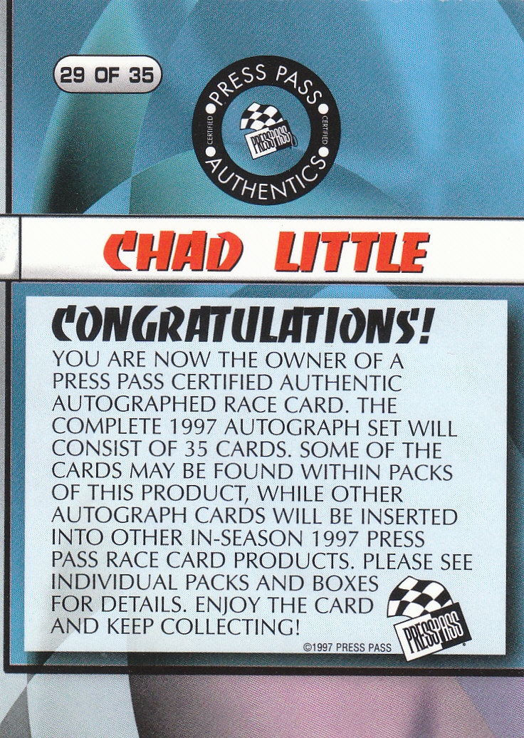 1997 Press Pass Autographs #29 Chad Little VIP back image