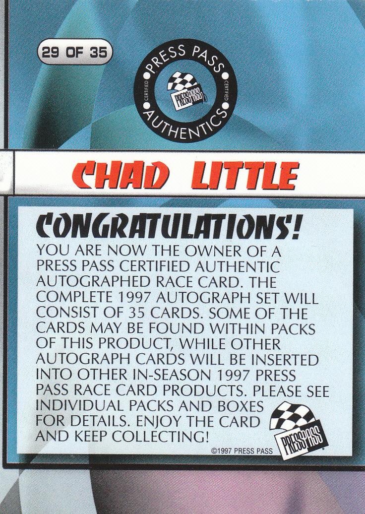 1997 Press Pass Autographs #29 Chad Little VIP back image