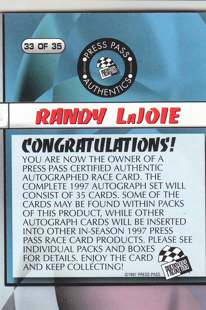 1997 Press Pass Autographs #33 Randy LaJoie PPP/VIP back image