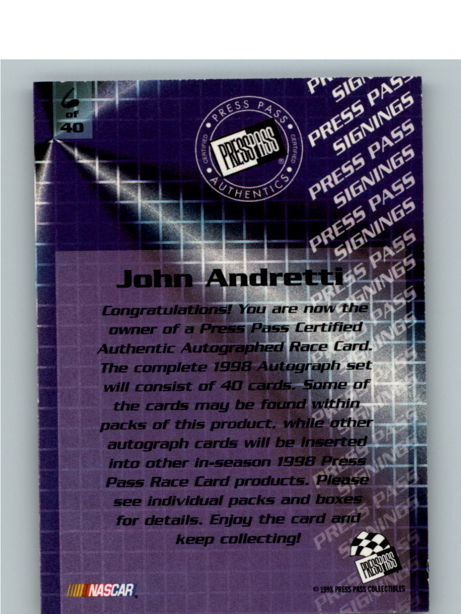 1998 Press Pass Signings #6 John Andretti/Press Pass Stealth/  VIP back image