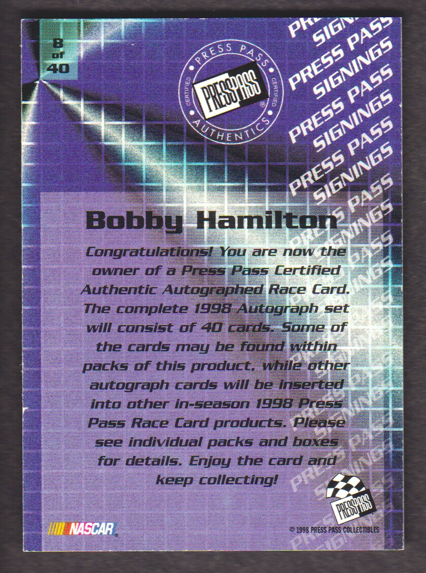 1998 Press Pass Signings #8 Bobby Hamilton/Press Pass Stealth/  VIP back image