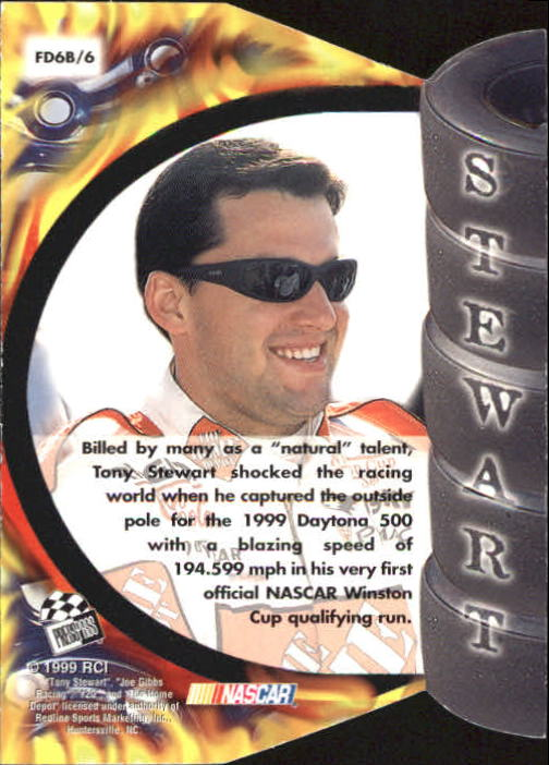 1999 Press Pass Premium Burning Desire #FD6B Tony Stewart 1:18 back image
