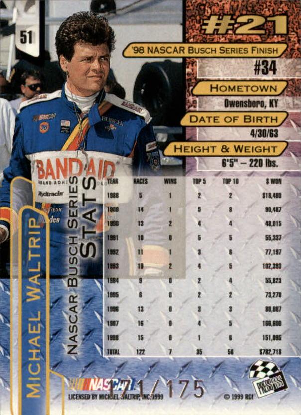 1999 Press Pass Skidmarks #51 Michael Waltrip back image