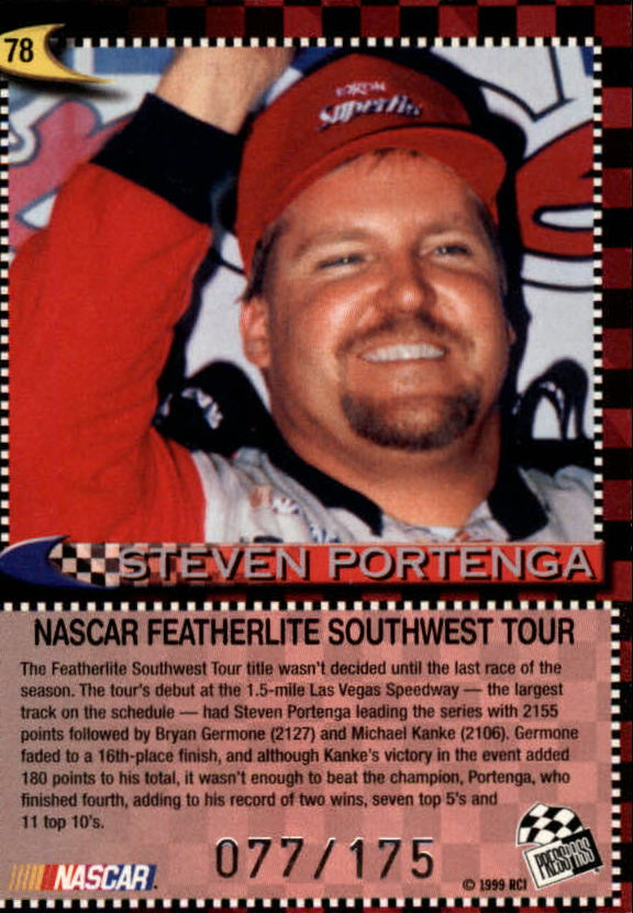 1999 Press Pass Skidmarks #78 Steve Portenga Champ back image