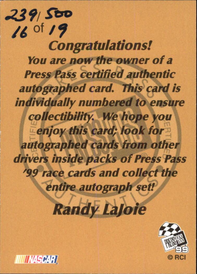 1999 Press Pass Autographs #14 Randy LaJoie/500 back image