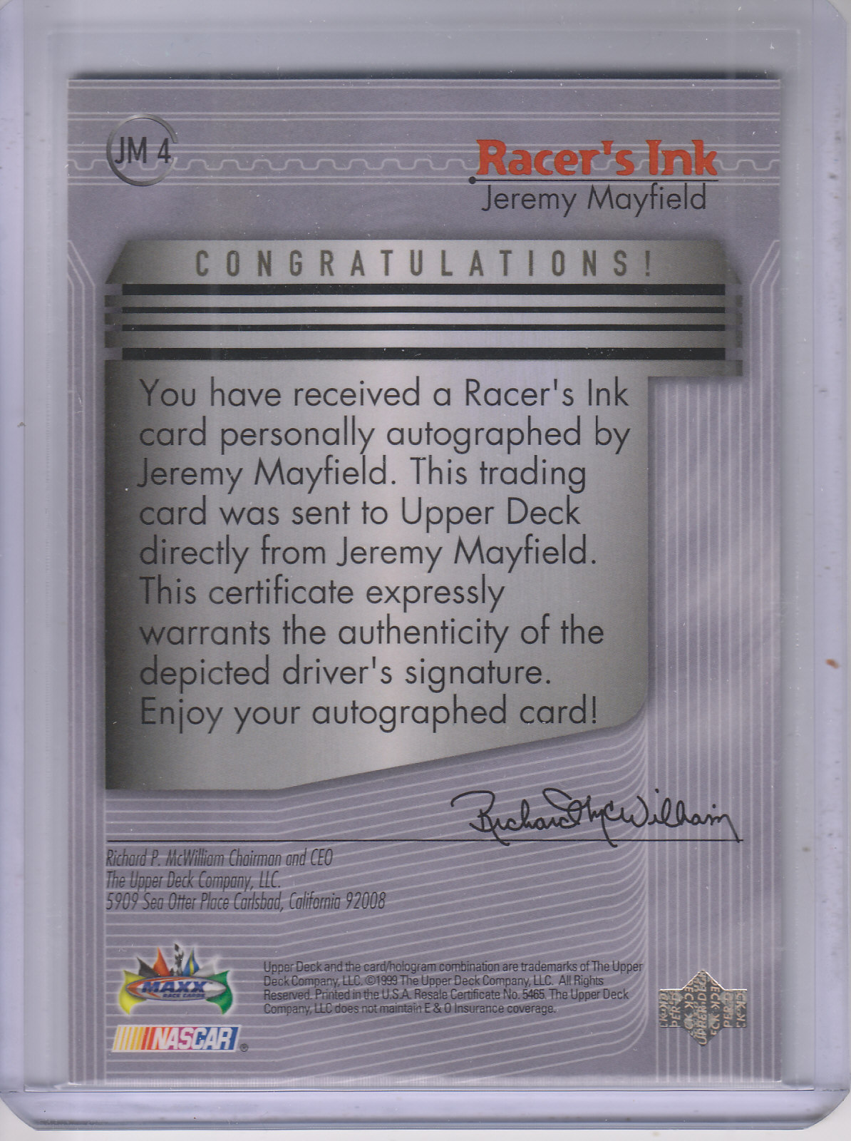 1999 Maxx Racer's Ink #JM Jeremy Mayfield back image