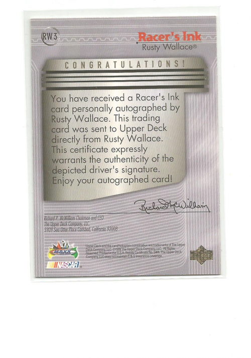 1999 Maxx Racer's Ink #RW Rusty Wallace back image