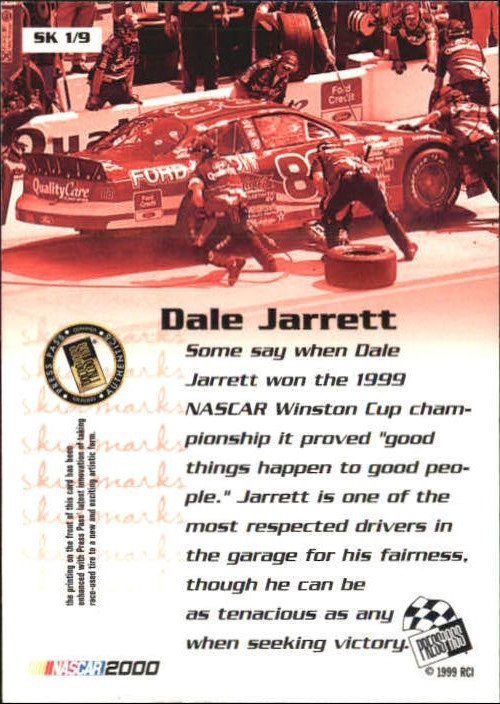 2000 Press Pass Skidmarks #SK1 Dale Jarrett back image
