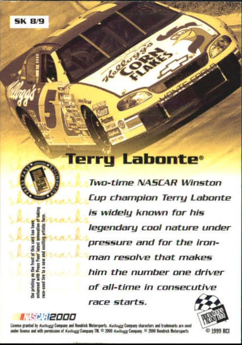 2000 Press Pass Skidmarks #SK8 Terry Labonte back image