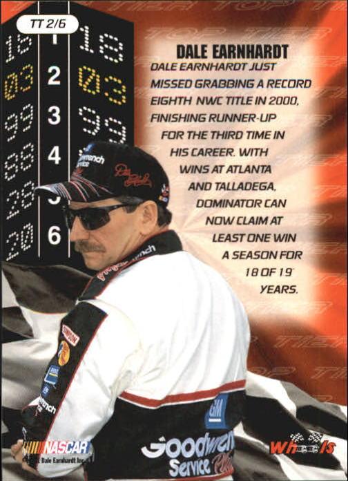 2001 Wheels High Gear Top Tier #TT2 Dale Earnhardt back image