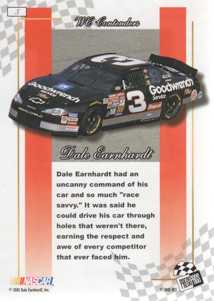 2001 Press Pass Premium Gold #3 Dale Earnhardt back image