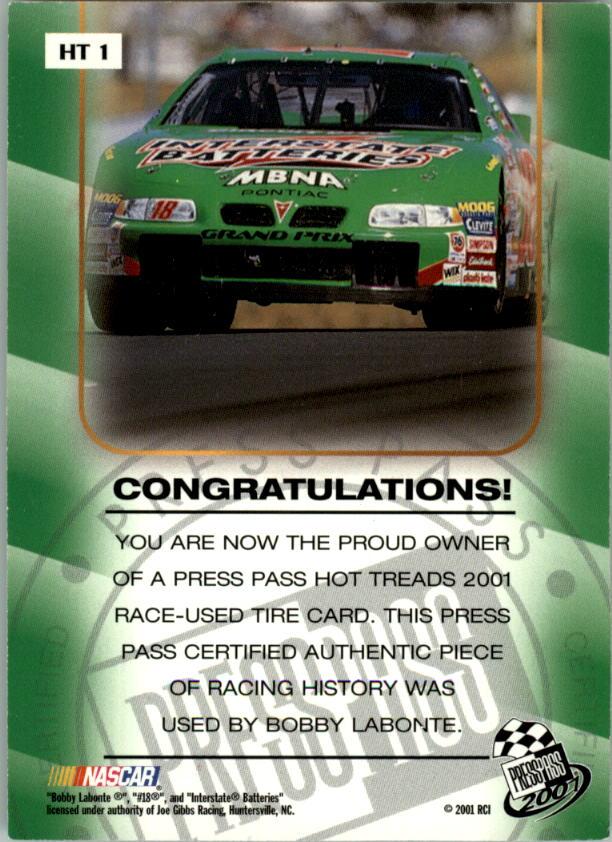 2001 Press Pass Hot Treads #HT1 Bobby Labonte/2405 back image