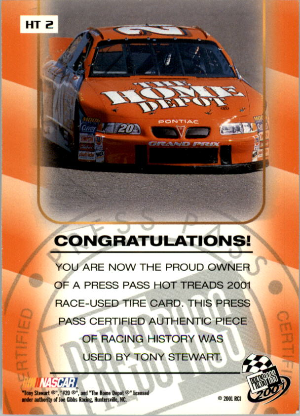 2001 Press Pass Hot Treads #HT2 Tony Stewart/2405 back image