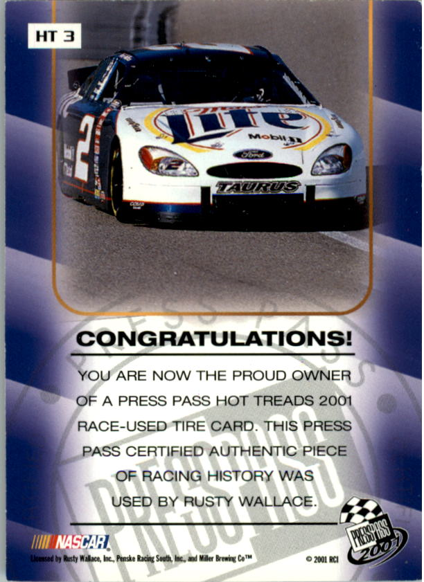 2001 Press Pass Hot Treads #HT3 Rusty Wallace/2405 back image