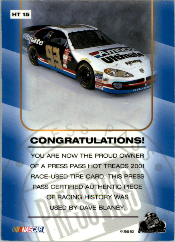 2001 Press Pass Hot Treads #HT15 Dave Blaney/1660 back image