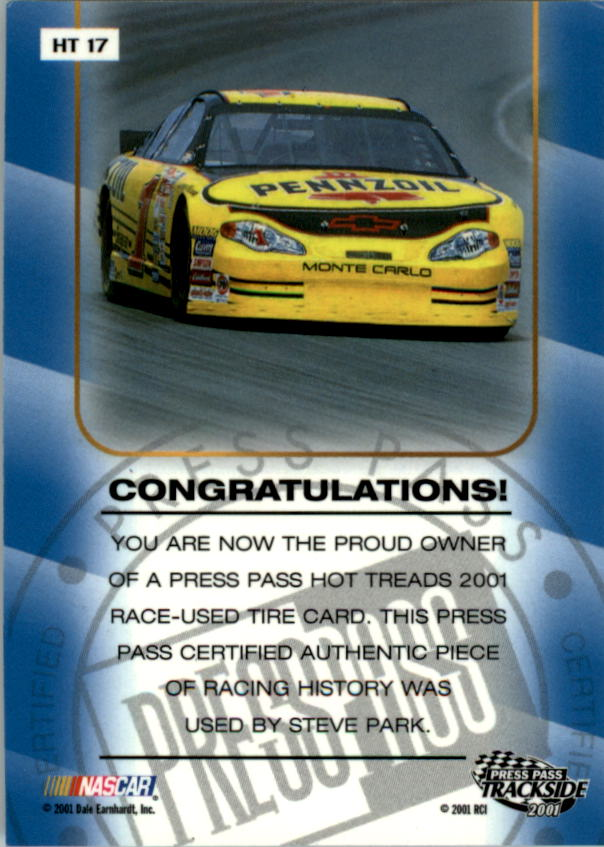 2001 Press Pass Hot Treads #HT17 Steve Park/2400 back image