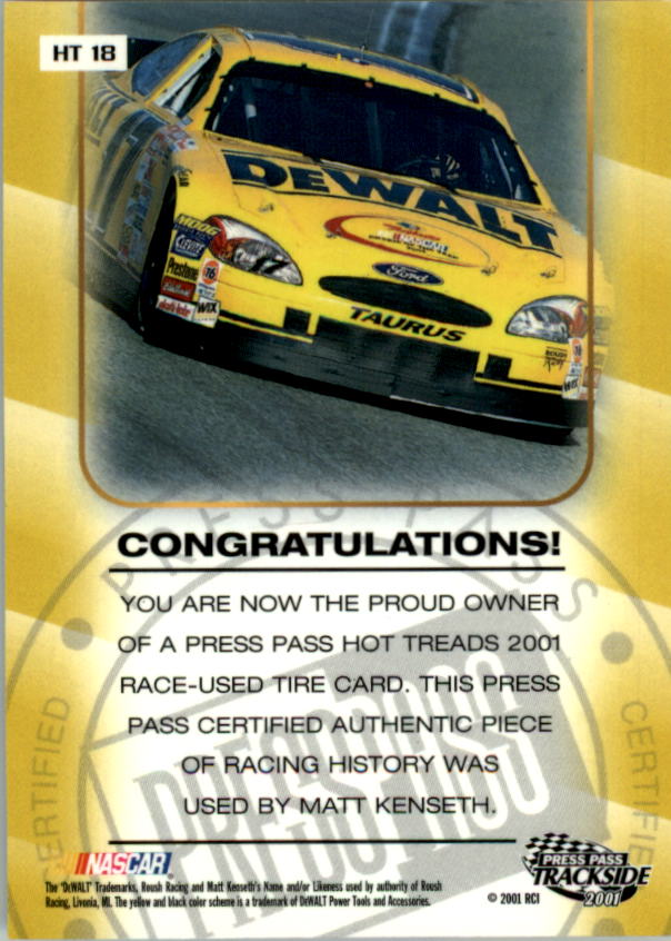 2001 Press Pass Hot Treads #HT18 Matt Kenseth/2405 back image