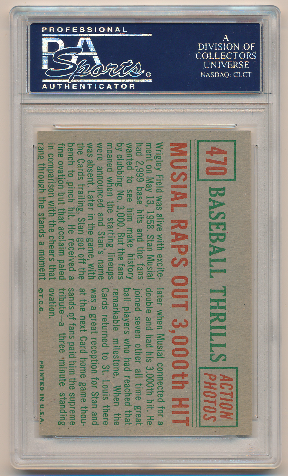 1959 Topps #470 Musial Raps Out 3,000th Hit PSA 8 (OC) NM-MT Z27056 back image