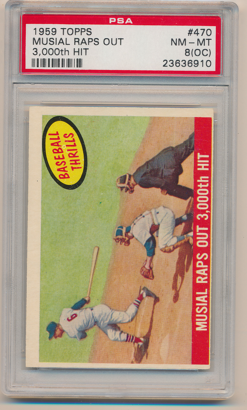 1959 Topps #470 Musial Raps Out 3,000th Hit PSA 8 (OC) NM-MT Z27056