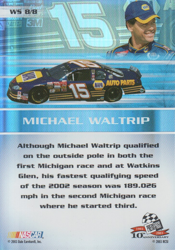 2003-Press-Pass-Eclipse-Inserts-NASCAR-Racing-Cards-Pick-From-List thumbnail 61