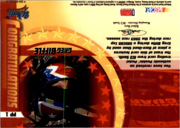 2004 Wheels American Thunder Pushin Pedal #PP1 Greg Biffle back image
