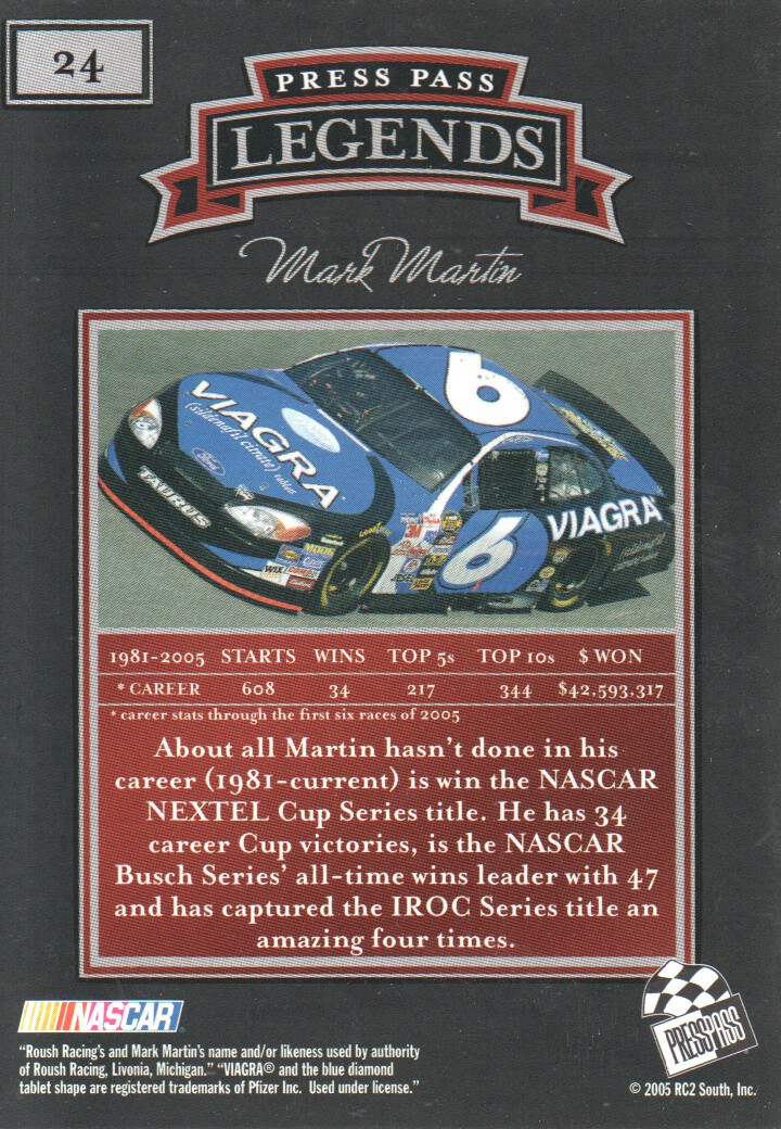 2005 Press Pass Legends #24 Mark Martin back image