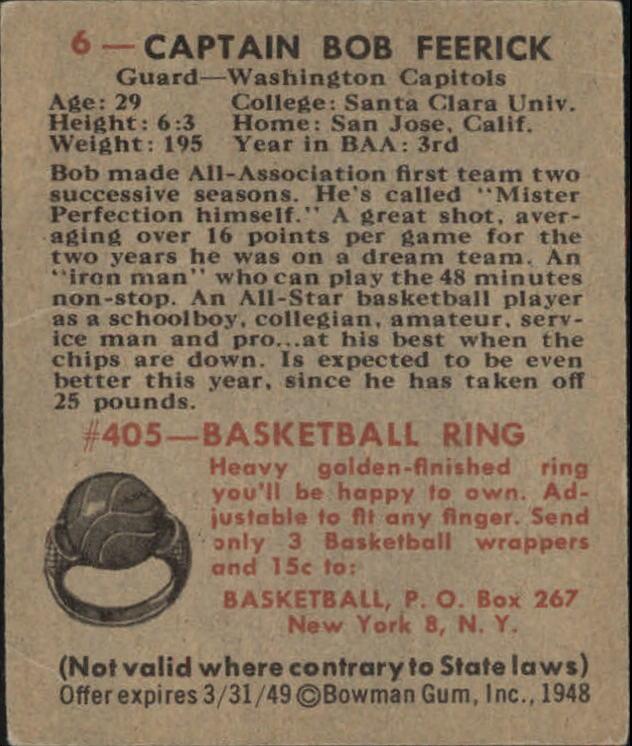 1948 Bowman #6 Bob Feerick RC back image
