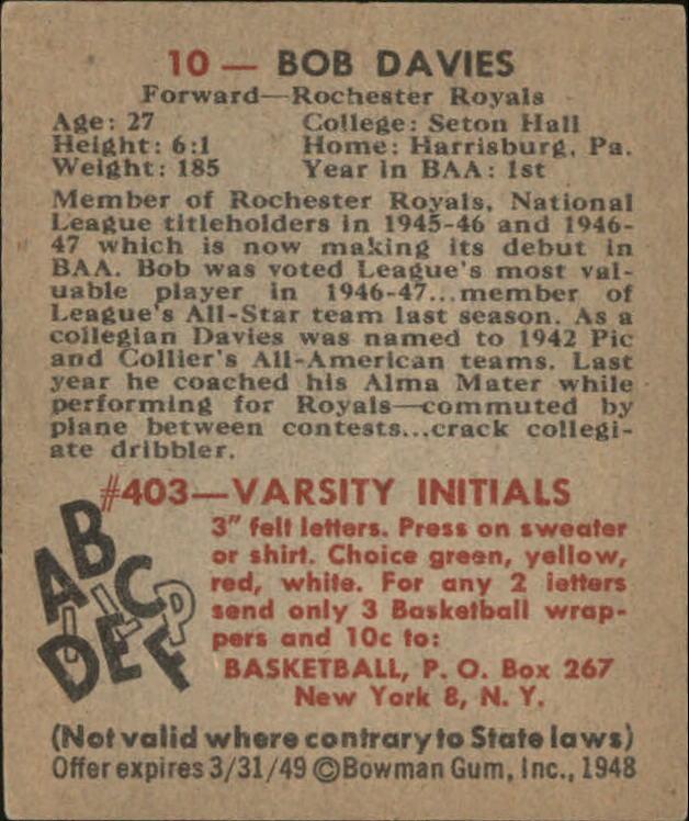 1948 Bowman #10 Bob Davies RC back image