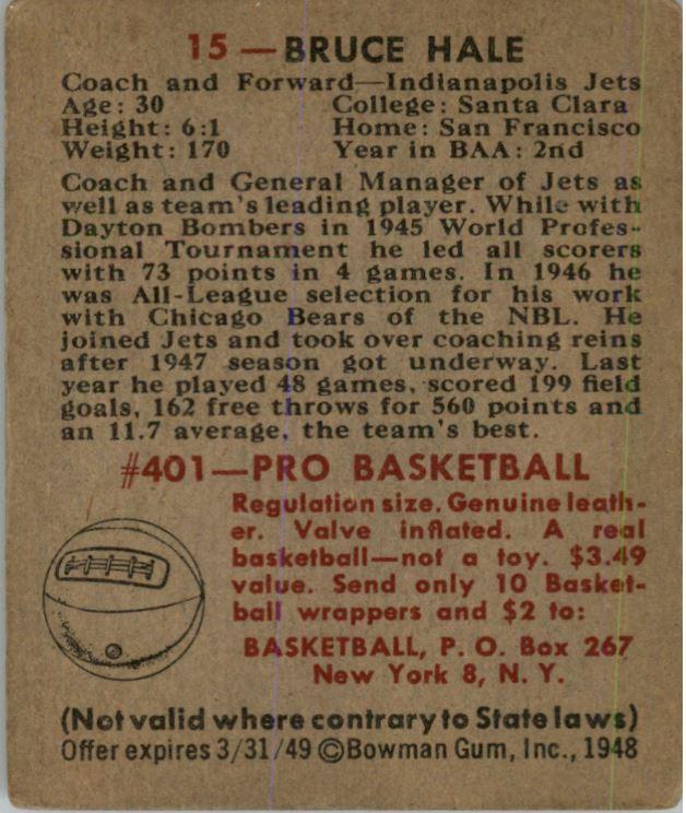 1948 Bowman #15 Bruce Hale RC back image