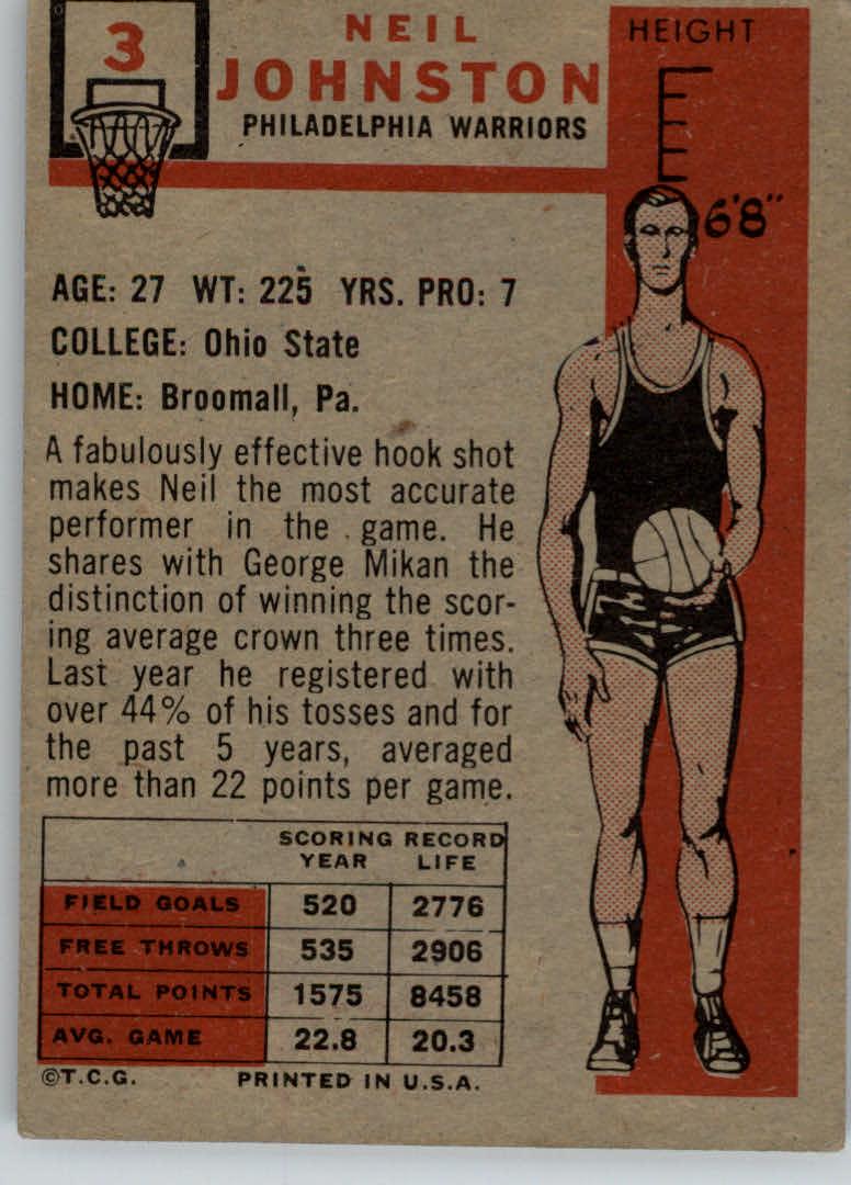1957-58 Topps #3 Neil Johnston DP RC back image