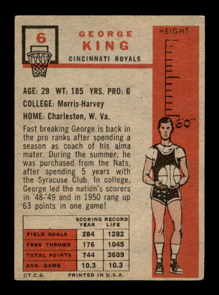 1957-58 Topps #6 George King DP RC back image