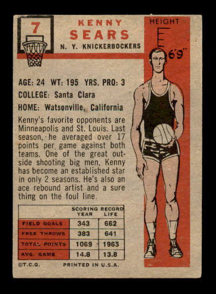 1957-58 Topps #7 Kenny Sears DP RC back image