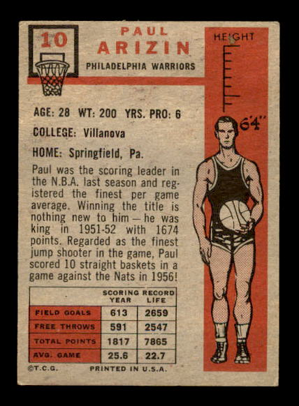 1957-58 Topps #10 Paul Arizin DP RC back image
