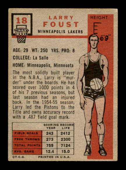 1957-58 Topps #18 Larry Foust DP RC back image