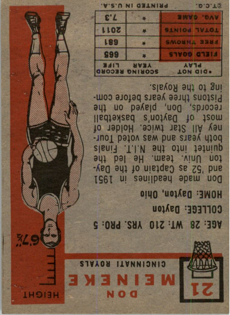 1957-58 Topps #21 Don Meineke DP RC back image