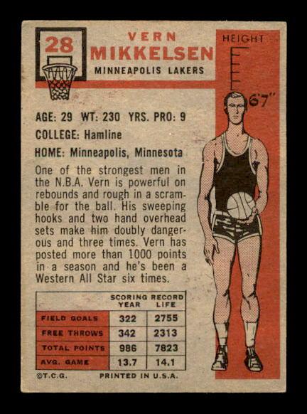 1957-58 Topps #28 Vern Mikkelsen RC back image