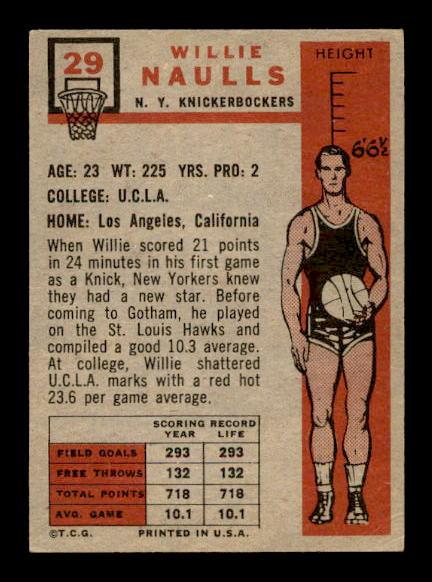 1957-58 Topps #29 Willie Naulls RC back image