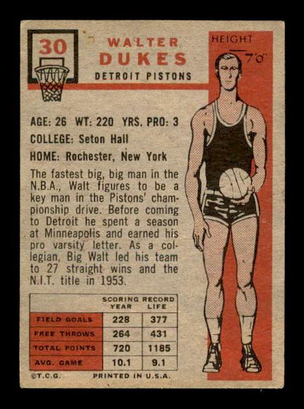 1957-58 Topps #30 Walter Dukes DP RC back image