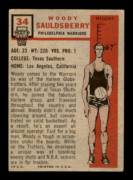 1957-58 Topps #34 Woody Sauldsberry DP RC back image