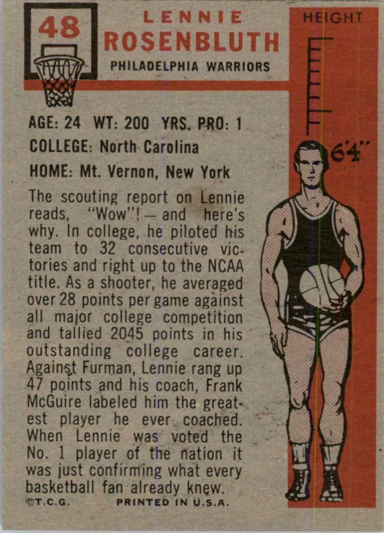 1957-58 Topps #48 Lennie Rosenbluth DP RC back image