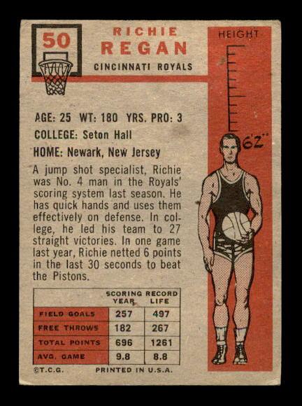 1957-58 Topps #50 Richie Regan RC back image