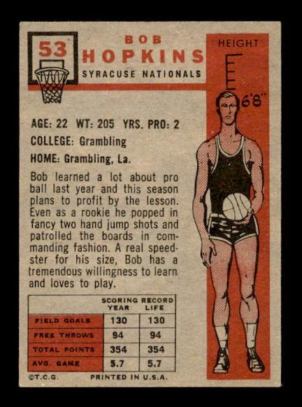 1957-58 Topps #53 Bob Hopkins RC back image