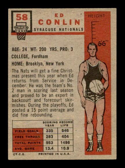 1957-58 Topps #58 Ed Conlin RC back image