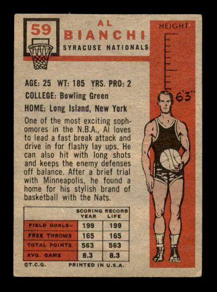1957-58 Topps #59 Al Bianchi RC back image
