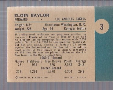 1961-62 Fleer #3 Elgin Baylor RC back image