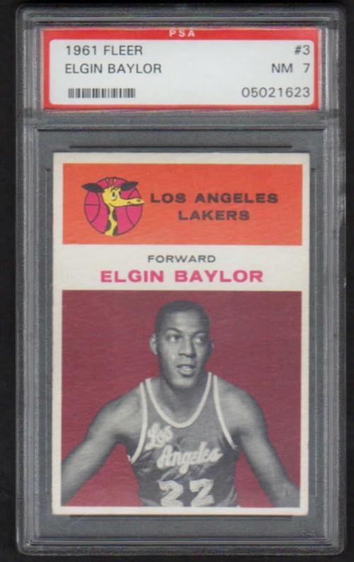 1961-62 Fleer #3 Elgin Baylor RC