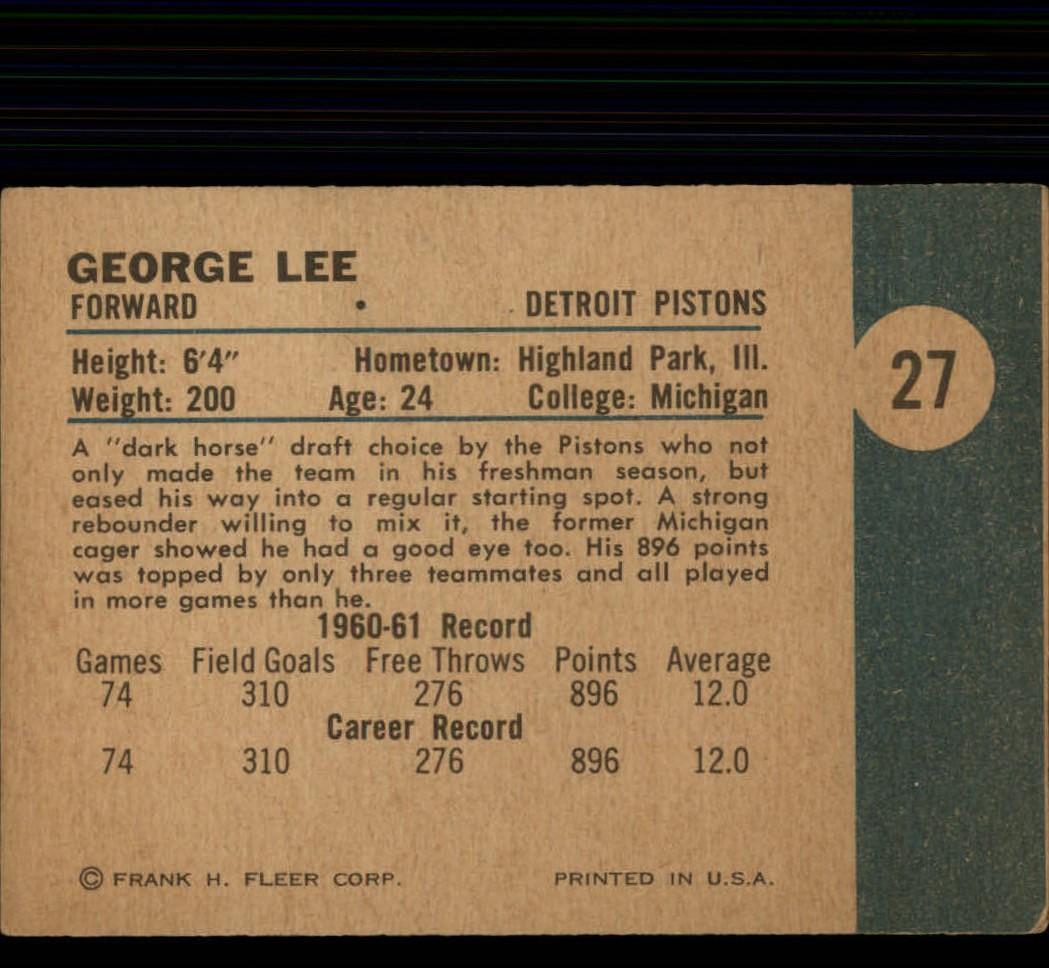 1961-62 Fleer #27 George Lee back image