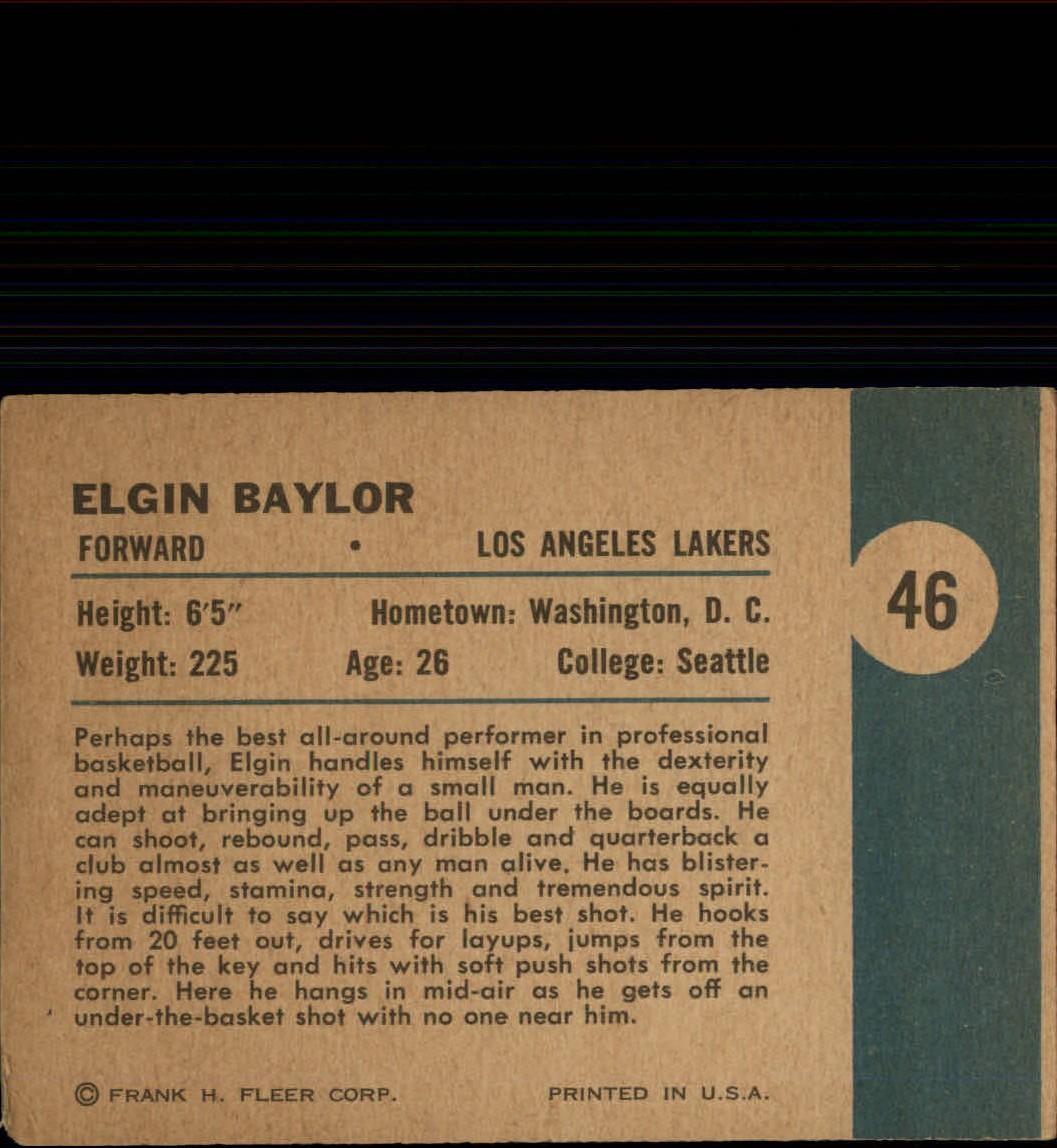 1961-62 Fleer #46 Elgin Baylor IA back image