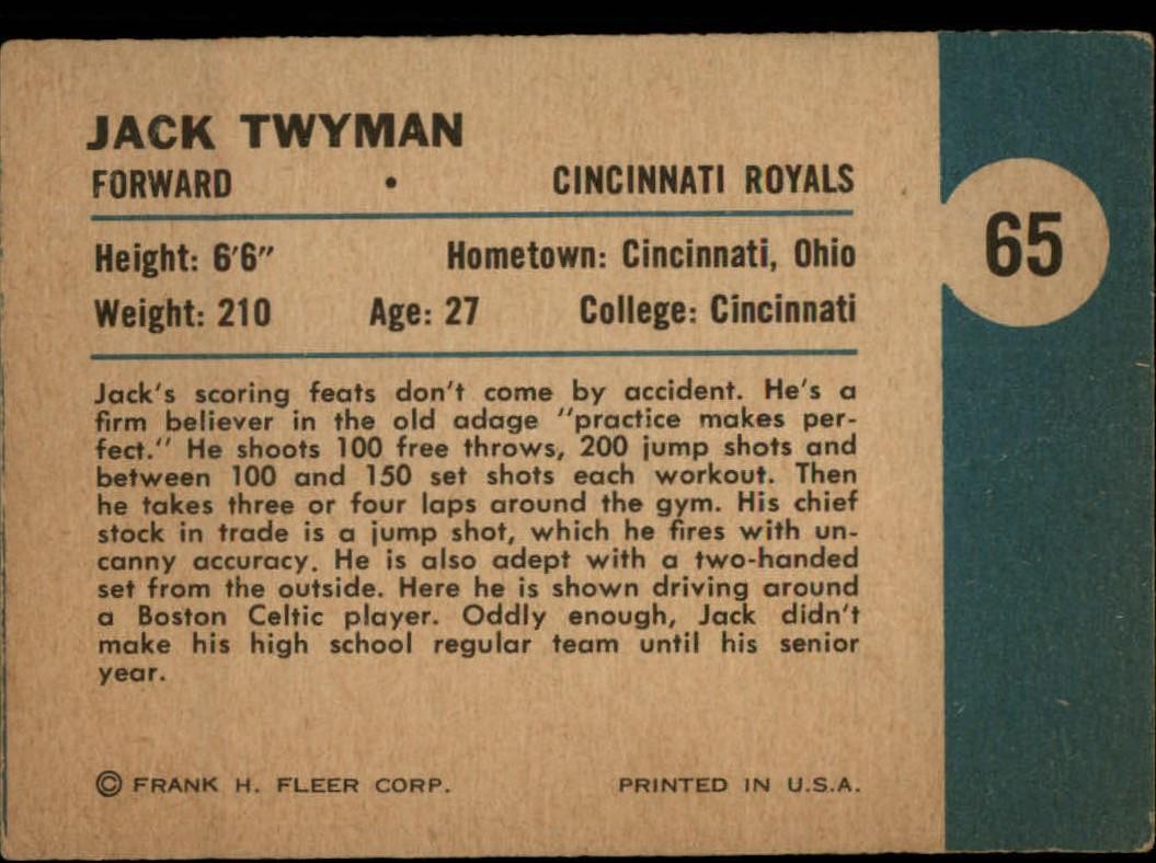 1961-62 Fleer #65 Jack Twyman IA back image