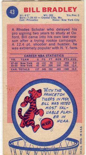 1969-70 Topps #43 Bill Bradley RC back image